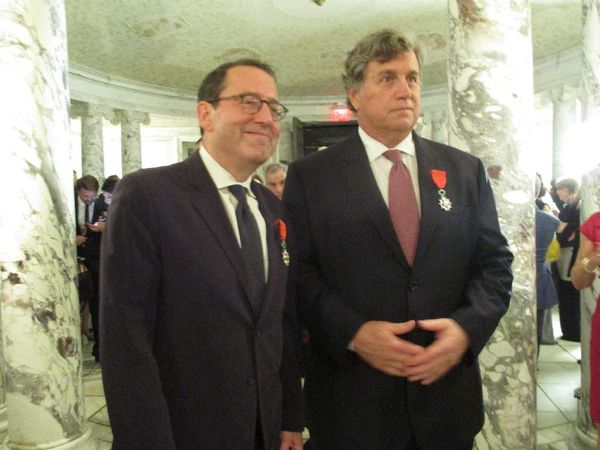 Sony Pictures Classics founders Michael Barker and Tom Bernard - Chevalier of the Legion of Honor insignia at the Cultural Services of the French Embassy in New York.