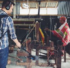 Sound mixer Michael Flowe on location in Bangladesh