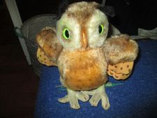 "Anne-Katrin Titze's Steiff owl at home without Whit Stillman's glasses: ""I just love their stuffed animals. This is a huge one."""