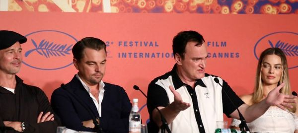 Once upon a time in Cannes: lining up greet the media - (from left) Brad Pitt, Leonardo DiCaprio, Quentin Tarantino and Margot Robbie