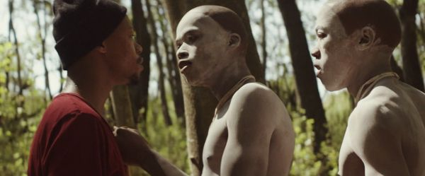 Xolani (Nakhane Touré) and Kwanda (Niza Jay Ncoyini) as Caregiver and Initiate in The Wound. Trengove: 'I was conscious that it needed to be as raw as possible and one of the ways that I did that was to constantly stay with character'