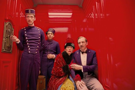 Paul Schlase, Tony Revolori, Tilda Swinton and Ralph Fiennes in Wes Anderson's The Grand Budapest Hotel