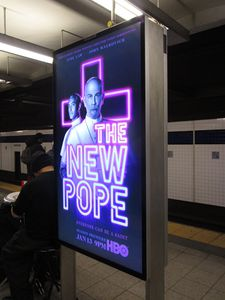 The New Pope NYC subway poster - costumes by Carlo Poggioli