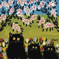 """And if you look at those three cats, they're just beautifully placed in the frame with the flowers around them."""