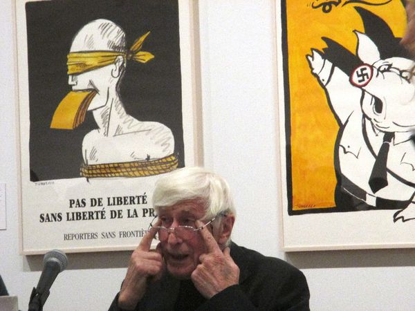 "Tomi Ungerer: All in One at The Drawing Center in New York on Liberté Crucifiée: ""I view the shooting at Charlie Hebdo with an incredible sense of sadness."""