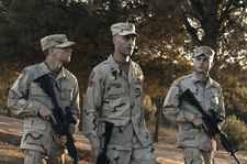 Murphy (Tye Sheridan) with Sergeant Sterling (Jack Huston) and Bartle (Alden Ehrenreich)