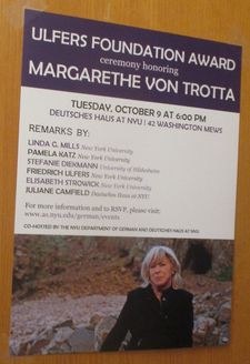 Margarethe von Trotta ‪honored for her remarkable career with the inaugural Ulfers Foundation Award