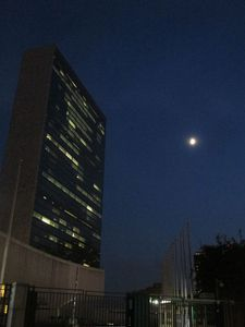 Moon over the Oscar Niemeyer designed United Nations