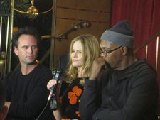 Jennifer Jason Leigh with Walton Goggins and Samuel L Jackson at Monkey Bar