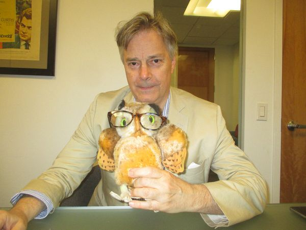 "Whit Stillman with Anne-Katrin Titze's Steiff owl, relative of the owlet seen in Metropolitan‪: ""It's really important in cinema because a significant prop gives you so much and you don't have to direct it too much."""