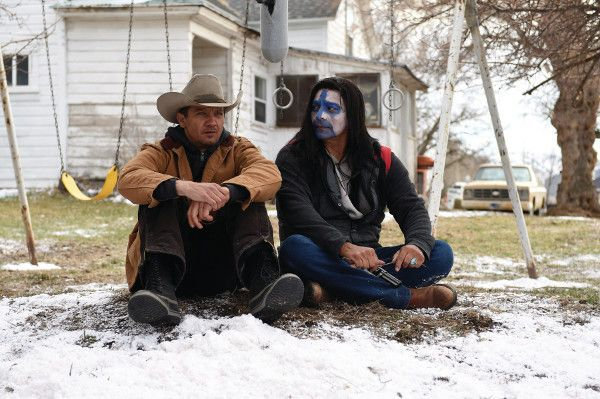 Jeremy Renner and Gil Birmingham in Wind River - an FBI agent teams with the town's veteran game tracker to investigate a murder that occurred on a Native American reservation.