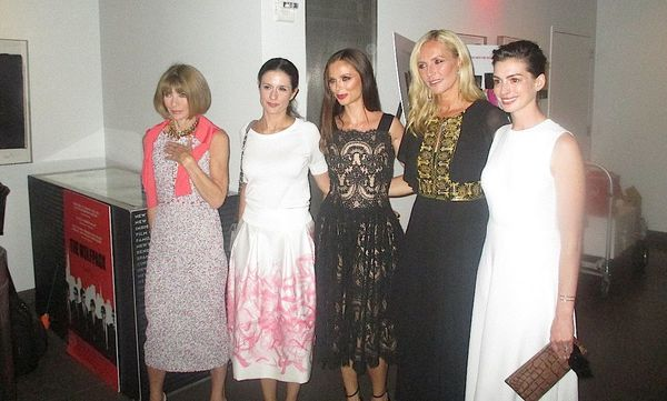 Anna Wintour, Livia Firth, Georgina Chapman, Keren Craig and Anne Hathaway at The True Cost