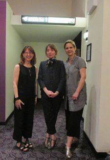 Zeva Oelbaum, Anne-Katrin Titze and Sabine Krayenbühl on the opening night for Letters From Baghdad in New York