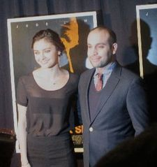 Ilan Eshkeri with Christine Evangelista at the New York premiere of Black Sea.