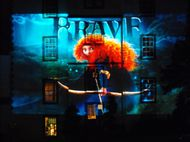 Poster image of Brave projected onto Prestonfield House Hotel, Edinburgh - photo by Amber Wilkinson