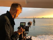 Director Fred Scott shooting in Venice the day after About Endlessness had its premiere