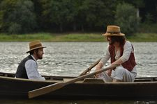 Two men in a boat: Guillaume Canet as Zola and Guillaume Gallienne as Cézanne