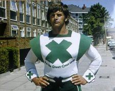 Dave Prowse as the Green Cross Code man