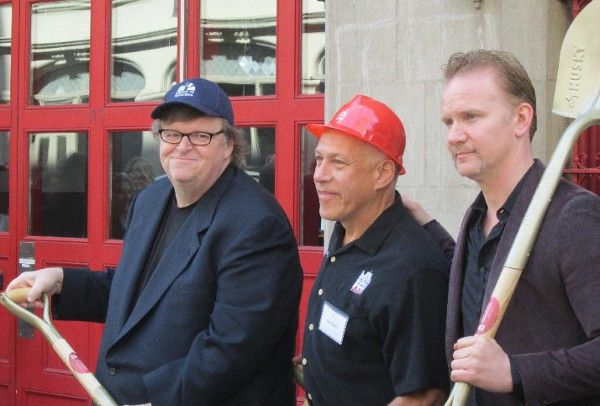 Michael Moore, Jon Alpert, Morgan Spurlock at the DCTV breaking ground ceremony in New York