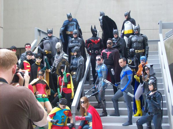An assortment of Batmen and Robins at the Atlanta Dragon*Con sci-fi festival.