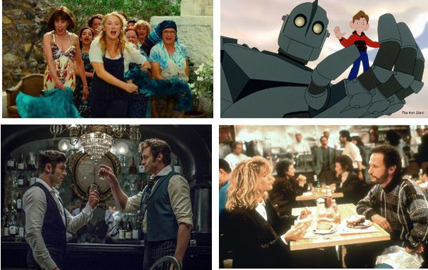 Clockwise from top: Mamma Mia!, The Iron Giant, When Harry Met Sally and The Greatest Showman
