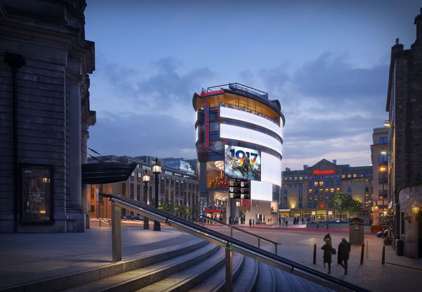 An artist's impression of how the finished building will look in Edinburgh's Festival Square