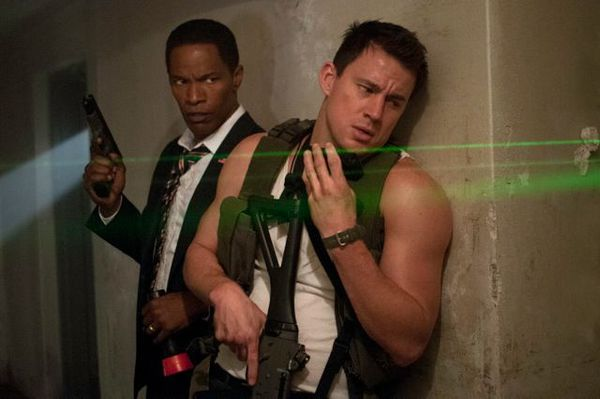 Jamie Foxx as the US President and Channing Tatum as his security officer in White House Down.