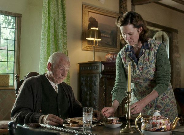 Ian McKellen and Laura Linney as Mr. Holmes and Mrs. Munro in the film.