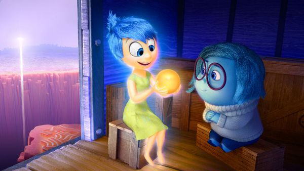 A little girl's emotions vie for control of her mind in Disney Pixar's Inside Out. Joy (voice of Amy Poehler) and Sadness (voice of Phyllis Smith) catch a ride on the Train of Thought.