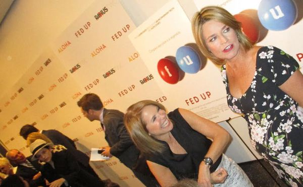 Katie Couric shares a laugh at the Fed Up MoMA premiere with fellow US journalist Savannah Guthrie, who is expecting: