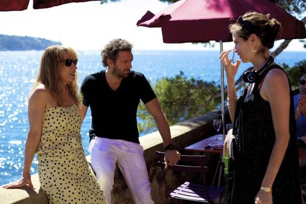 Director in action: Maiwenn (right) with Emmanuelle Bercot and Vincent Cassel during the shoot of Mon Roi