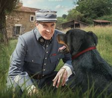 François Cluzet and his canine co-star Jaeger in The Red Collar