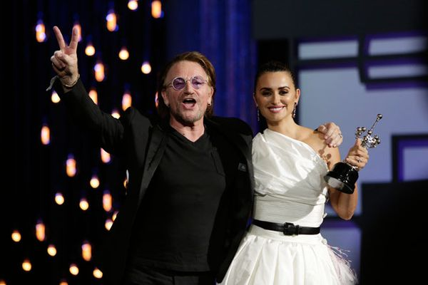 Penelope Cruz received her Donostia award from Bono