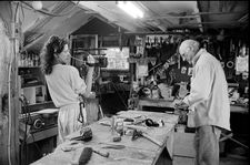 Rebecca Miller filming her father Arthur Miller in his Connecticut wood shop