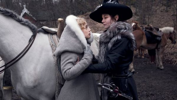 Malin with Alekko the horse and Sarah Gadon, who plays the woman she loves.