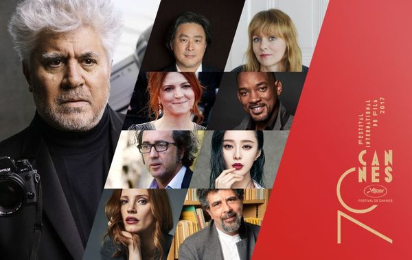 In the frame for jury duty: Pedro Almodóvar (left) with from top right Park Chan-wook, Maren Ade, Agnes Jaoui, Will Smith, Paolo Sorrentino, Fan Bingbing, Jessica Chastain and Gabriel Yared.
